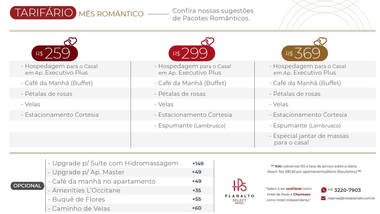 Pacote Romântico Planalto Select Hotel Ponta Grossa